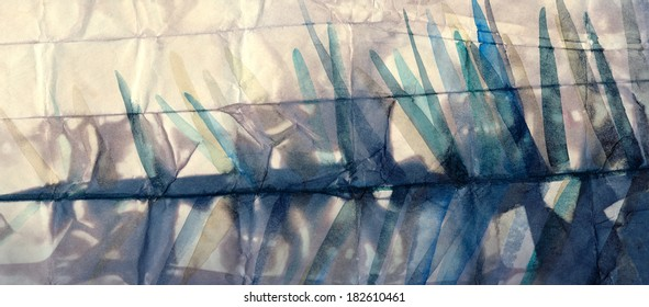 Textured background of toned crumpled paper with sharp strokes watercolor painting