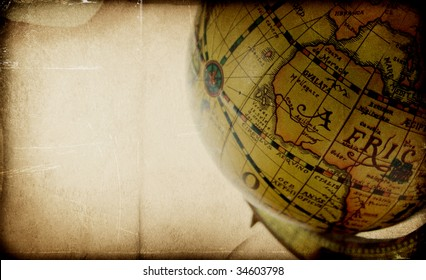 textured background with vintage globe