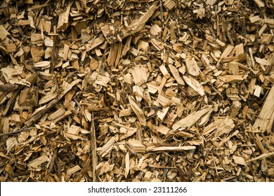 Textured Background of Wood Chips on the Ground