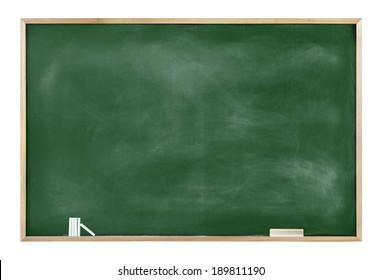 Textured Blackboard with Chalks and Eraser