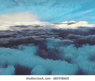 Textured clouds with blue skies in the Arctic, while bright sun rays fill the horizon.