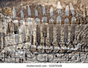 Textured composite image with silhouettes of Western Wall in Jerusalem and menorah with the glitter lights of candles. All these used as symbols for Hanukkah holiday. Image toned for retro style