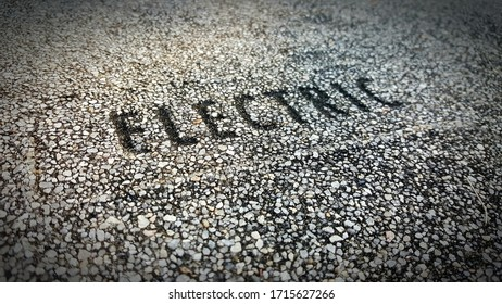 Textured Electrical utility box cover with angled text