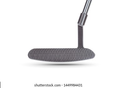 Textured Face of Golf Club Putter Isolated on a White Background.