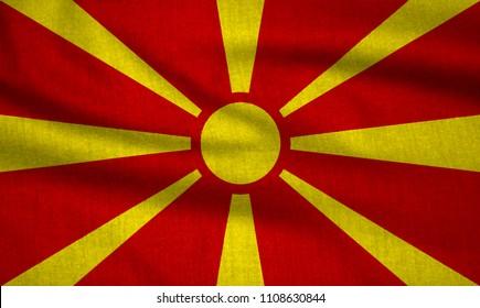 Textured flag of Former Yugoslav Republic of Macedonia.