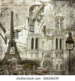 Textured grunge paper background with Paris architecture vintage style