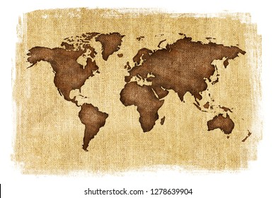 Textured illustration of map of the world with burlap linen background. White edges. Vintage style with stained edges.