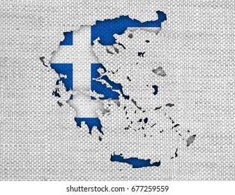 Textured map of Greece in nice colors