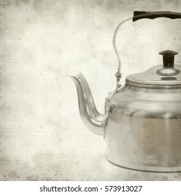 textured old paper background with aluminium kettle