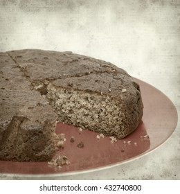 textured old paper background with banana cake