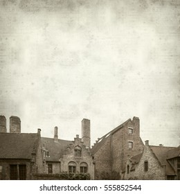 textured old paper background with Bruges buildings and tourist attractions