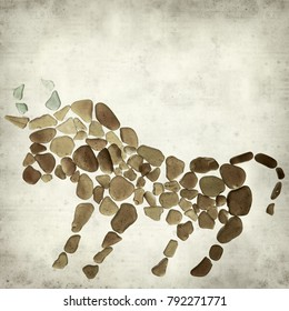 textured old paper background with bull figure made of sea glass