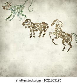 textured old paper background with Chinese horoscope animals circle