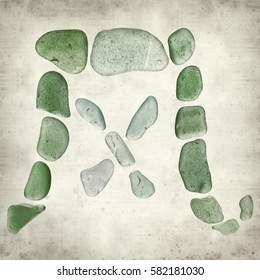 textured old paper background with chinese characters made of seaglass, feng, wind symbol