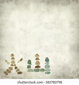 textured old paper background with chinese characters made of sea glass, huo - fire and shan - mountain, fire mountain, volcano
