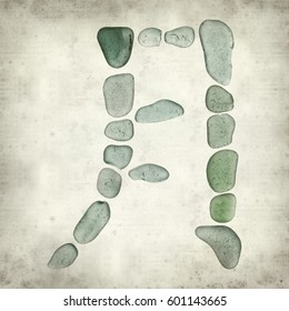 textured old paper background with Chinese character yue, moon, current  form of sea glass mosaic