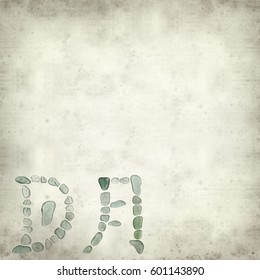 textured old paper background with Chinese character yue, moon, historical and current forms of sea glass mosaic