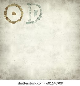 textured old paper background with Chinese characters ri - sun and yue - moon, historic  form , sea glass mosaic