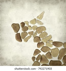 textured old paper background with dog figure made of sea glass