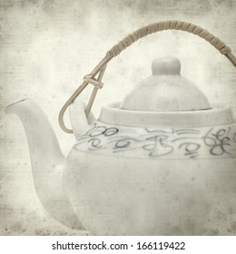 textured old paper background with eastern style teapot