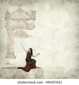 textured old paper background with flamenco dancer in ruins of old church