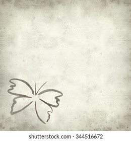 textured old paper background with ink butterfly sketch