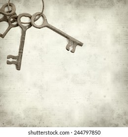 textured old paper background with old keys