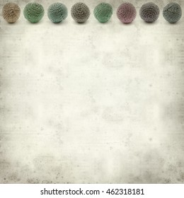 textured old paper background with knitted round ball