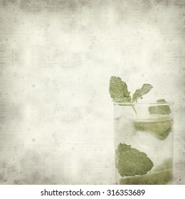 textured old paper background with mojito on mirror