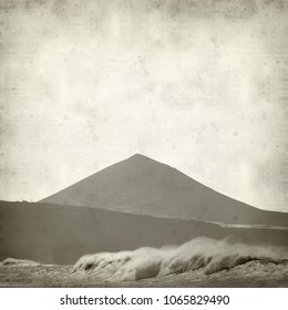 textured old paper background with poweful ocean waves by the shores of Gran Canaria