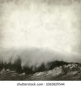 textured old paper background with poweful ocean waves