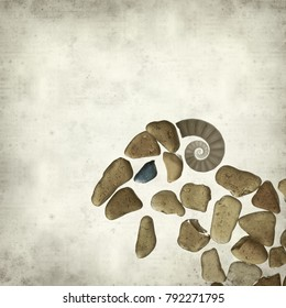 textured old paper background with ram figure made of sea glass