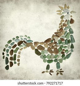textured old paper background with rooster picture made of sea glass