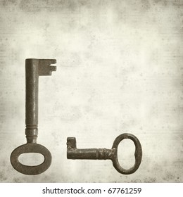 textured old paper background with old rusty antique metal key