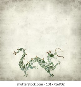 textured old paper background with sea glass dragon figure