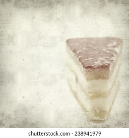textured old paper background with strawberry cake