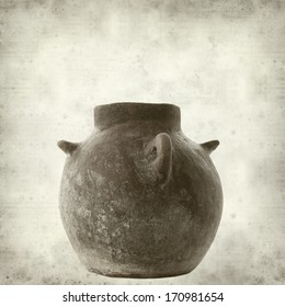 textured old paper background with traditional canarian clay pot