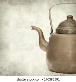 textured old paper background with vintage copper kettle
