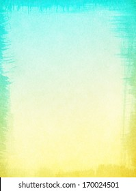 A textured paper background with a subtle yellow to turquoise blue gradient.  Image displays a ragged edge border, and a distinct grain pattern at 100 percent.