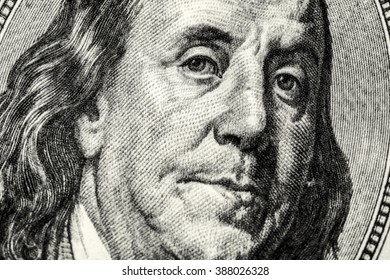 Textured Portrait of Benjamin Franklin on dollar banknote
