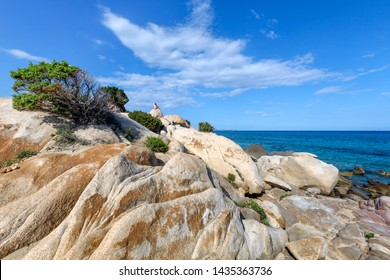 Textured rocks formation with pine tree growing on the rocks on the beach in Villasimius, Sardinia, Italy. Holidays, beaches in Sardinia.