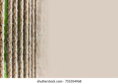 Textured rough rope background with copy space. Old manual rope rough close-up.