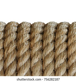Textured rough rope background with copy space. Old manual rope rough close-up.   Seamless texture. Isolated.