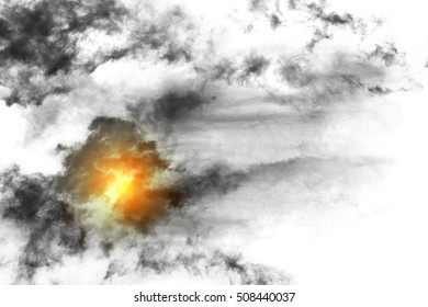 Textured Smoke with sunlight ,Abstract black,isolated on white background