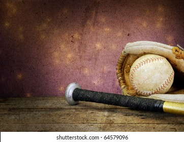 Textured soft focus baseball bat ball and mit on vintage table with bokeh antique feel