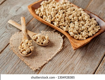 Textured soy protein (TVP). Textured vegetable protein (TSP). Soy meat for a vegetarian diet.
