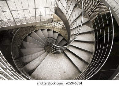 A textured steel staircase.