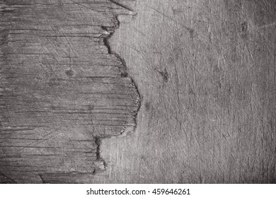 Textured surface of old wooden cutting board. Toned.