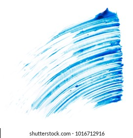 Textures of blue mascara smear on white background. Texture of blue mascara for eyelashes isolated on white background. Smear of blue mascara for eyelashes on white background. Blue mascara smear