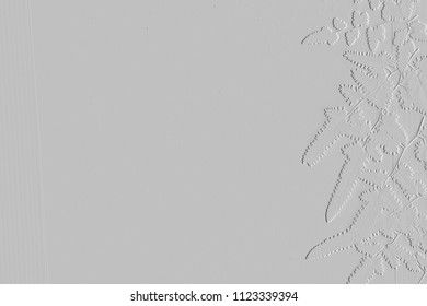 Textures of embossed leaves on background grey